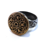 Wheel of Life - Antique Button Ring - Size 7
