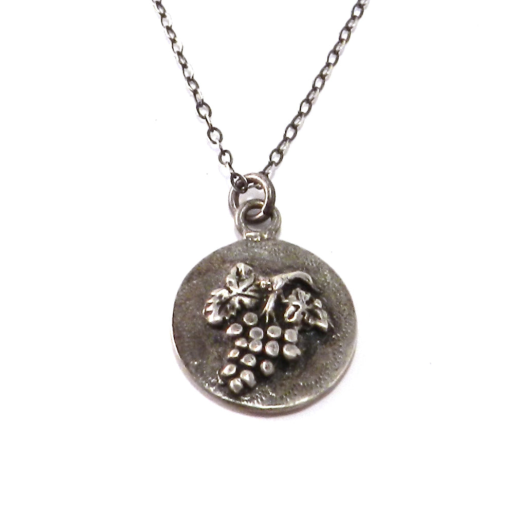 HARVEST GRAPE Antique Button Necklace - SILVER
