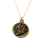 HARVEST GRAPE Antique Button Necklace - GOLD