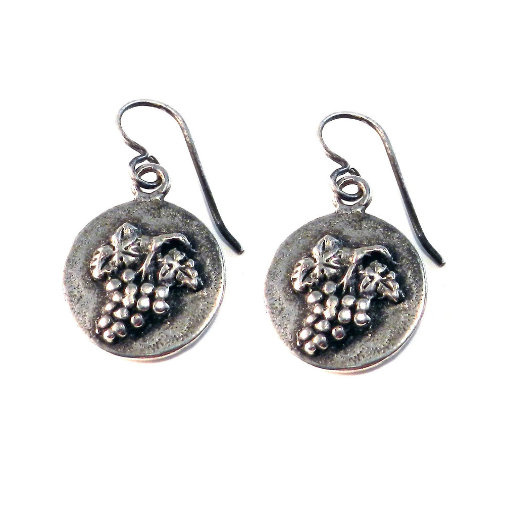 HARVEST GRAPE Vintage Button Earrings - SILVER