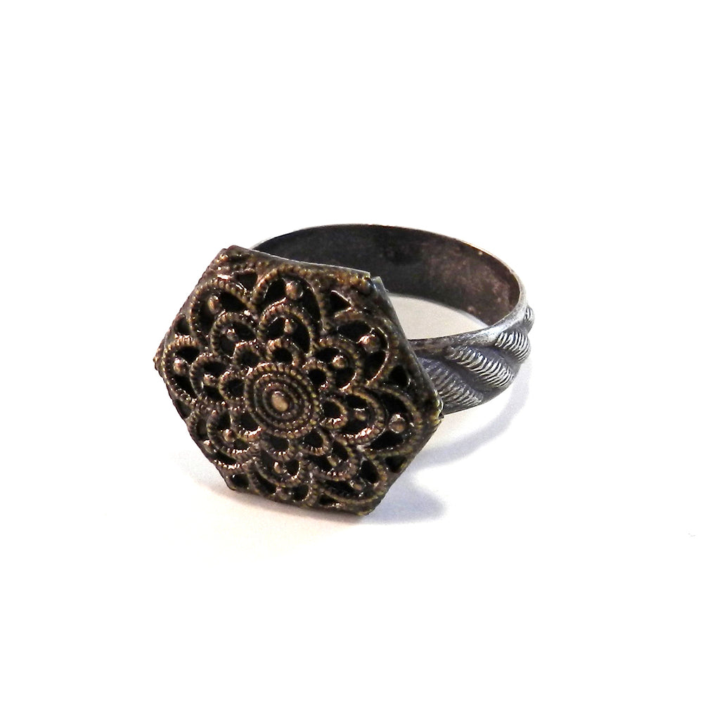 Hexagon Blossom - Antique Button Ring - Size  7 1/4