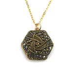 Hexagon Twinkle Antique Button Necklace