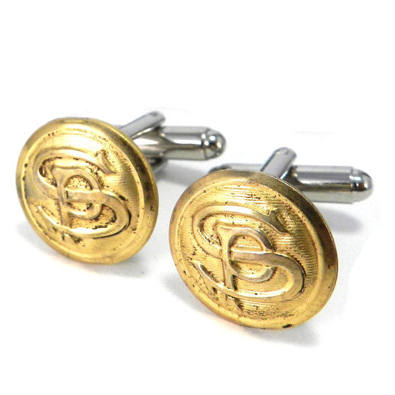 Southern Pacific Railroad Vintage Railroad Button Cufflinks - Brass