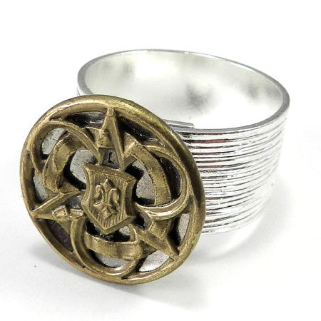 Victorian Button Ring - Wide Band - Silver & Gold