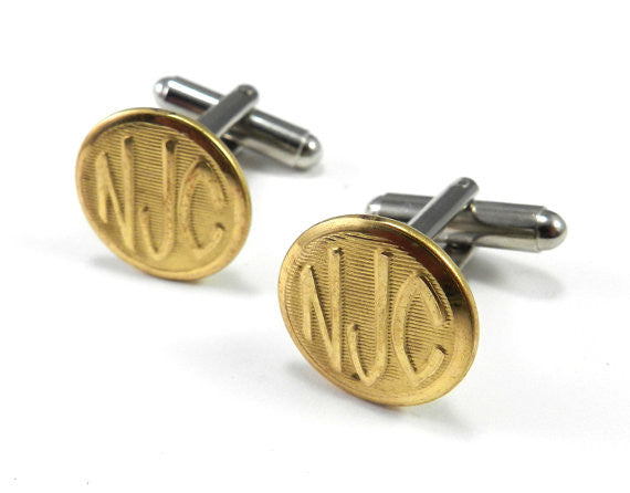 New Jersey Central Railroad Button Cufflinks - Brass