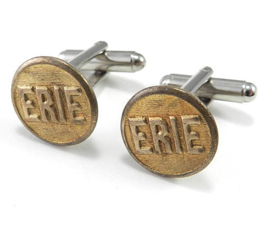 Erie Railroad Button Cuff Links - Brass