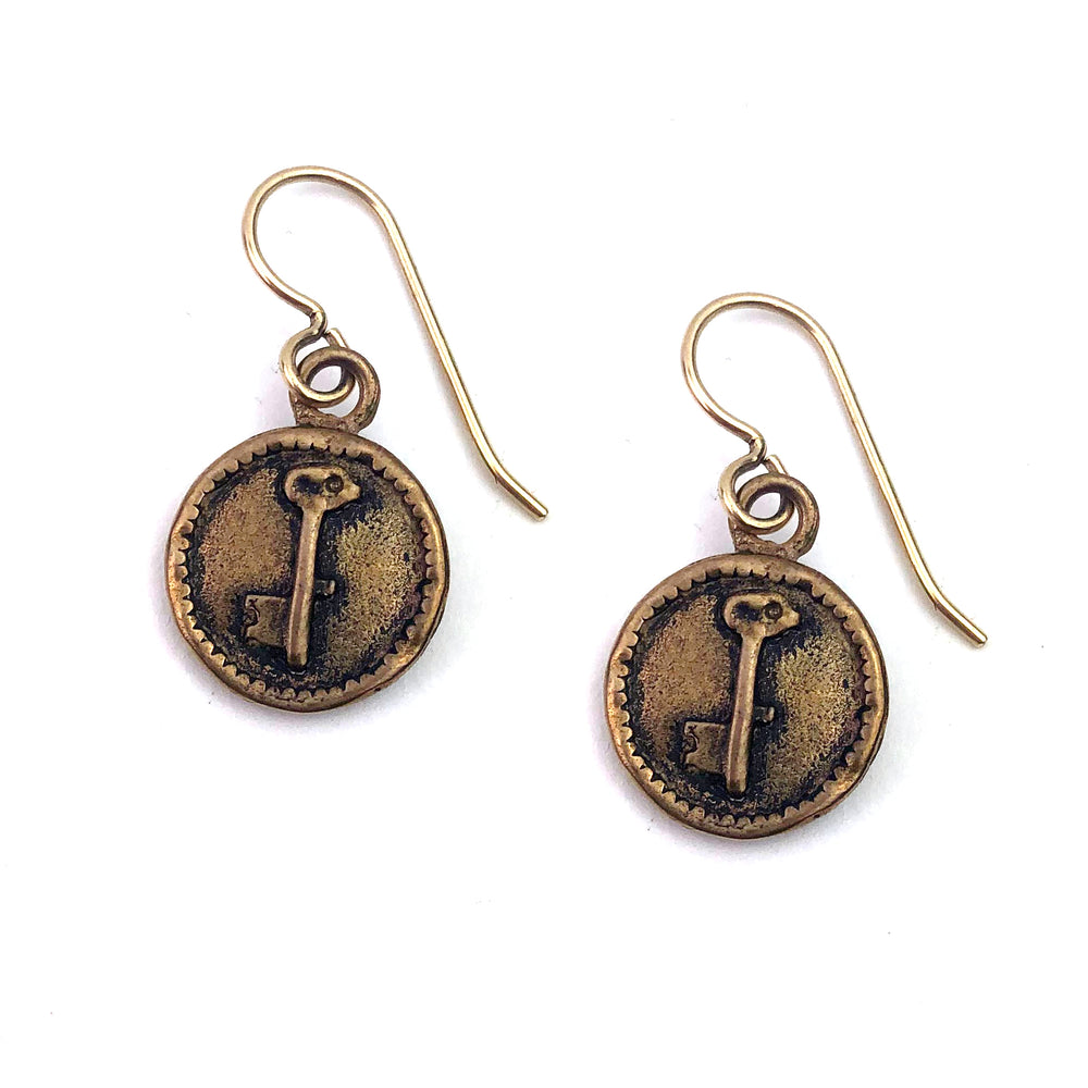 Key to my Heart Charm Earrings - GOLD