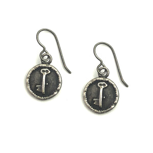 Key to My Heart Vintage Charm Earrings - Sterling Silver