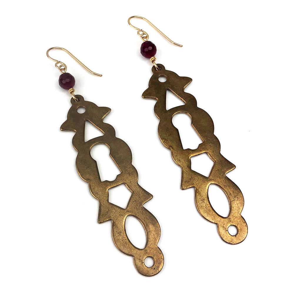 PARIS Vintage Escutcheon Earrings - Ruby