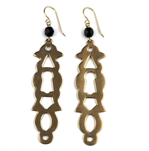 PARIS Vintage Escutcheon Earrings - GOLD