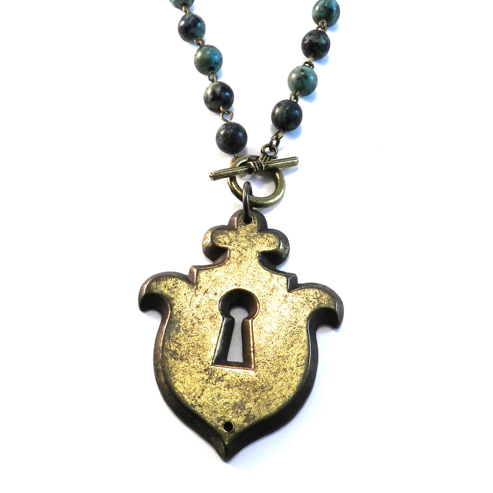 Paris Vintage Keyhole Necklace - Turquoise Gemstone