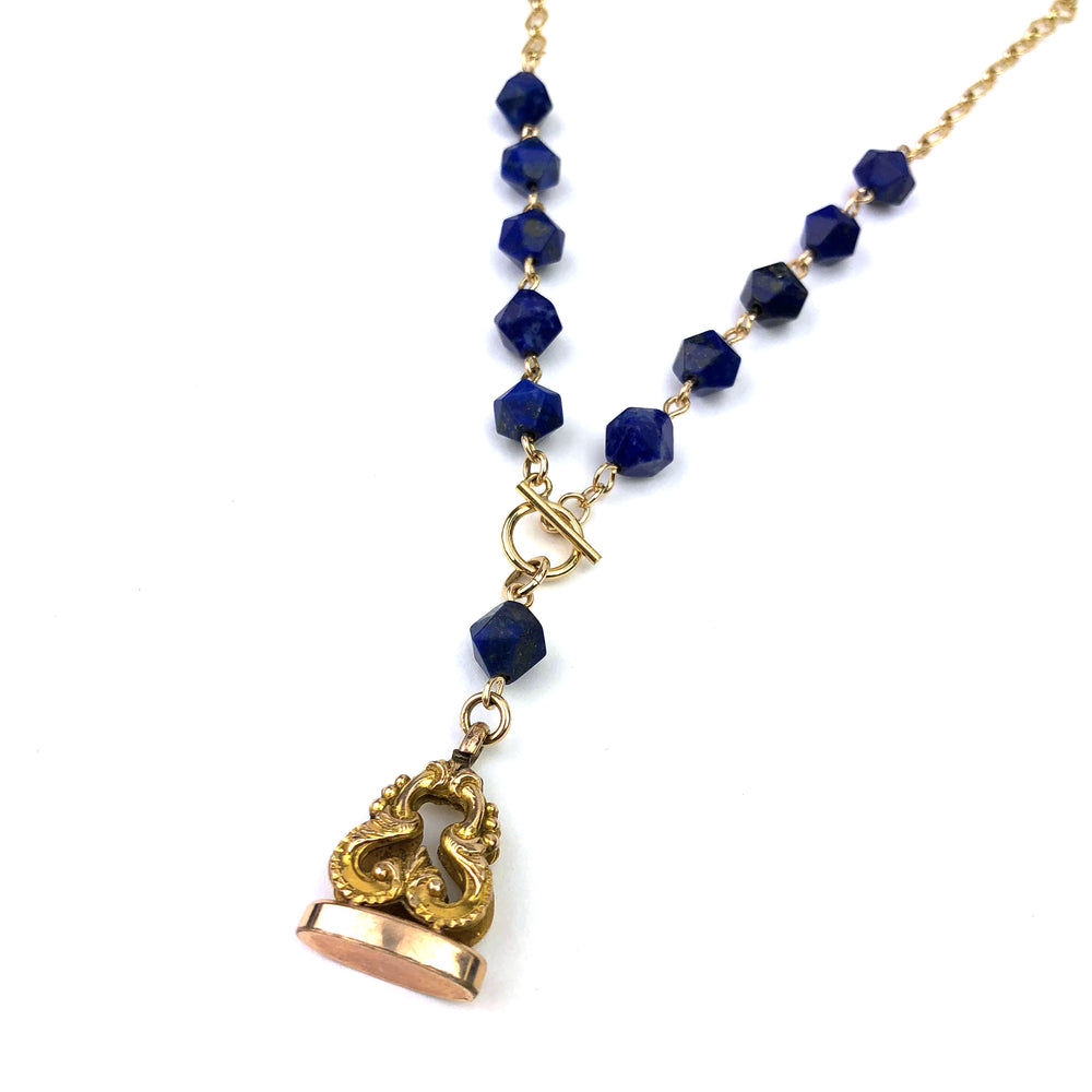 Edwardian Wax Seal Watch Fob Necklace - Lapis