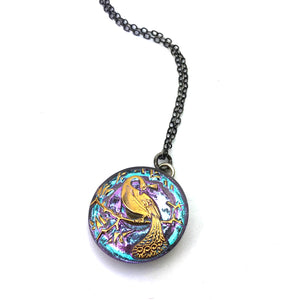LAVENDER SKY PEACOCK Vintage Button Necklace - Silver