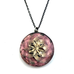 LAVENDER STAR Bohemian Button Necklace Silver