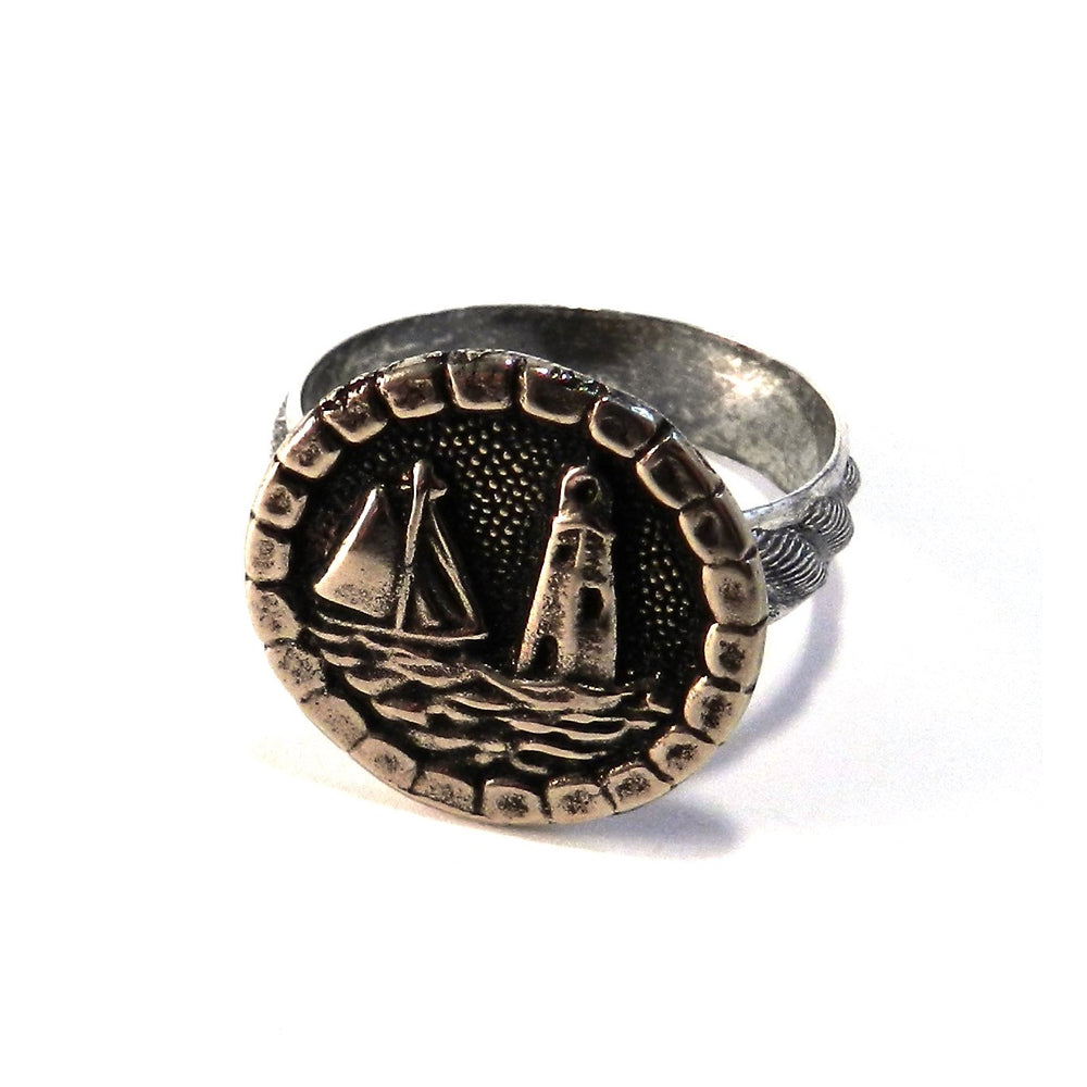 LIGHTHOUSE Antique Button Ring - MIXED METAL