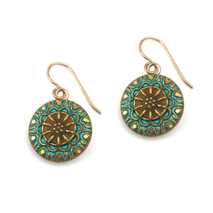 Spring Turquoise Mandala Vintage Button Earrings - Gold