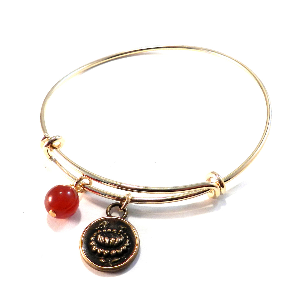 LOTUS Antique Button Bangle Charm Bracelet - BRONZE