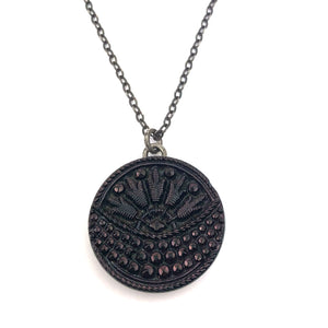 LOTUS MOON Bohemian Glass Vintage Button Necklace - Silver