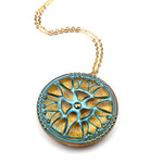 SPRING TRILLIUM Vintage Button Necklace - GOLD