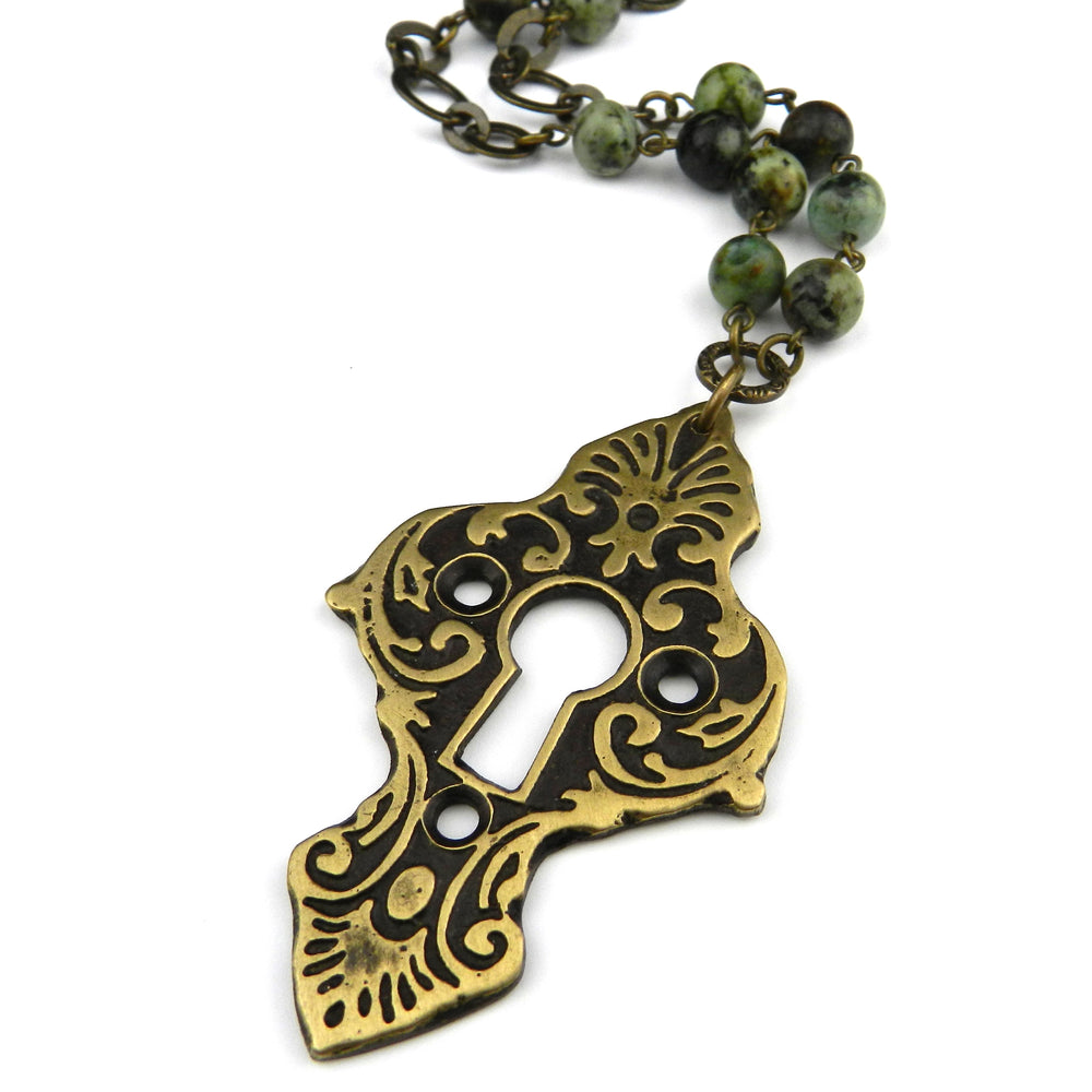 Medina Antique Keyhole Necklace - Turquoise Gemstone