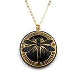 MIDNIGHT DRAGONFLY Vintage Button Necklace - GOLD