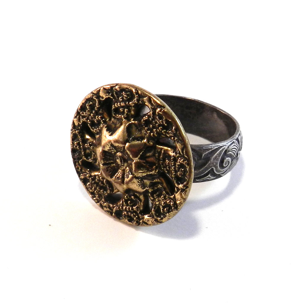 Shimmer Star Mandala - Antique Button Ring - Size 9