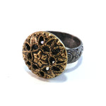 Mirror Star - Antique Button Ring - Size 8