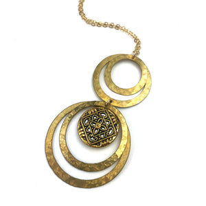 Gold Twinkle Mirror Vintage Button Statement Necklace