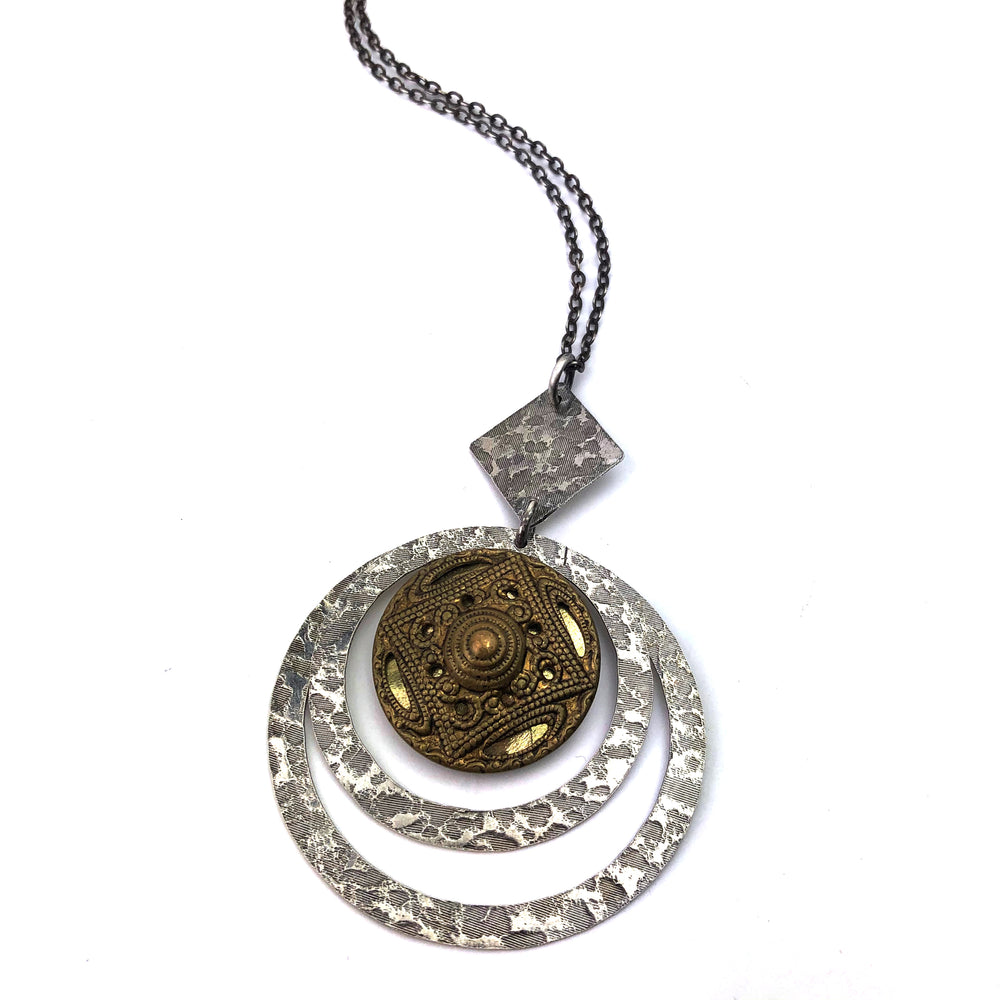 Silver and Gold Twinkle Mirror Vintage Button Statement Necklace