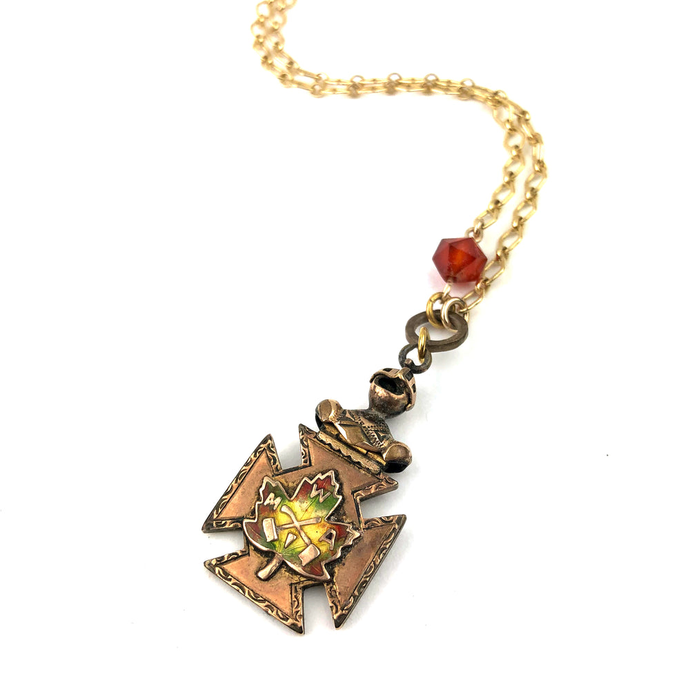 Maple Leaf Watch Fob Carnelian Necklace