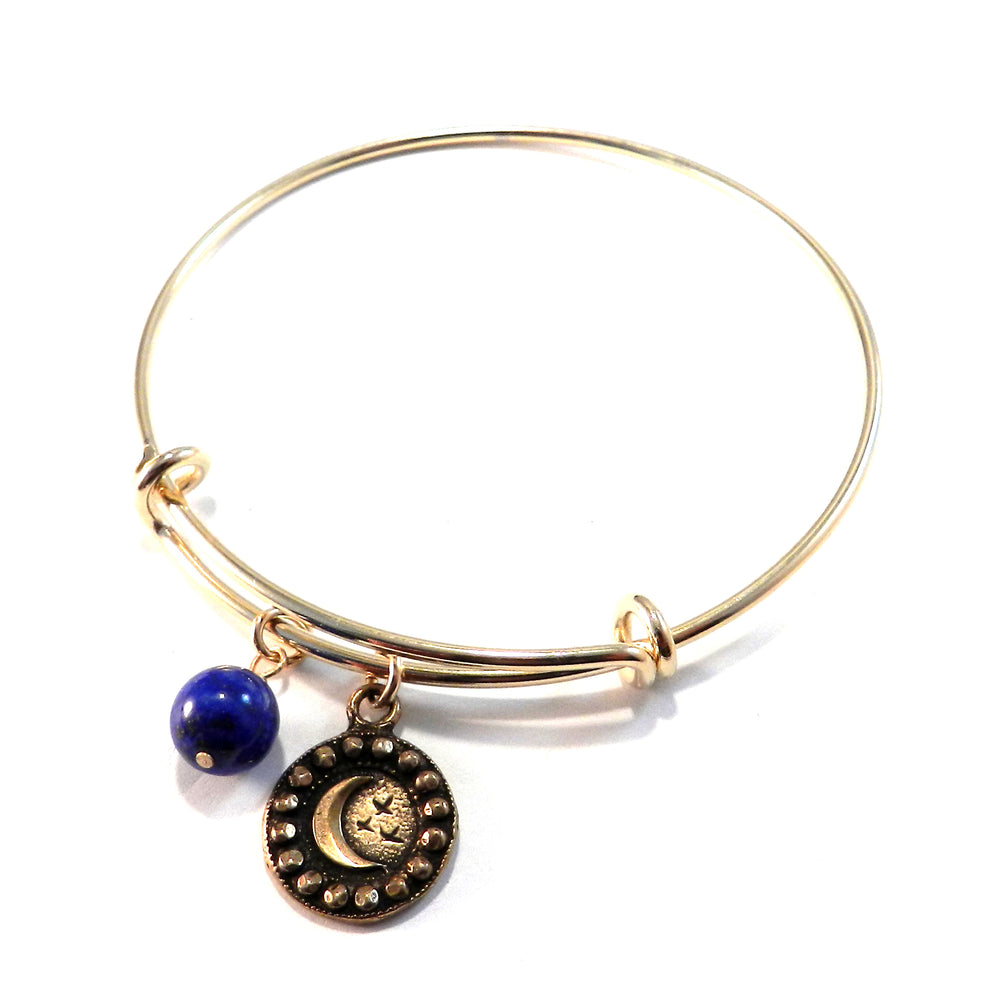 CRESCENT MOON Antique Button Bangle Charm Bracelet - GOLD