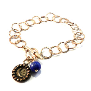 CRESCENT MOON Antique Button Charm Bracelet - BRONZE Lapis