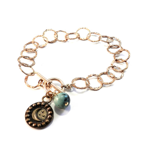 CRESCENT MOON Antique Button Charm Bracelet - BRONZE Turquoise