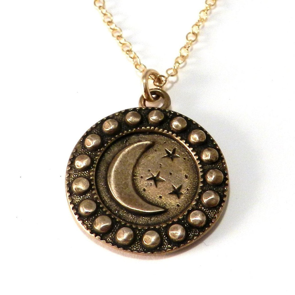 CRESCENT MOON (Lg.) Antique Button Necklace - GOLD
