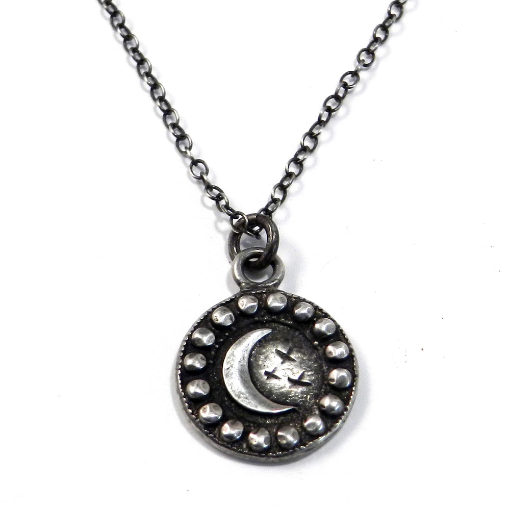CRESCENT MOON Antique Button Necklace - SILVER