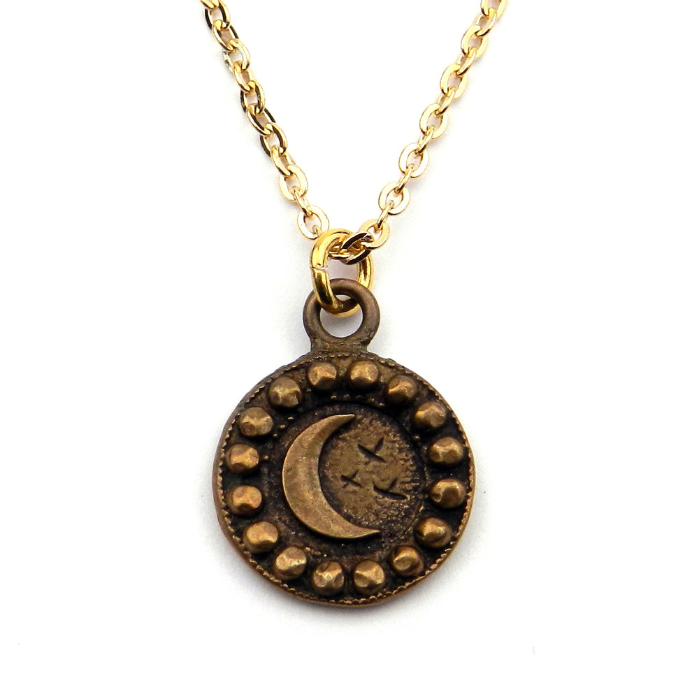CRESCENT MOON Antique Button Necklace - GOLD