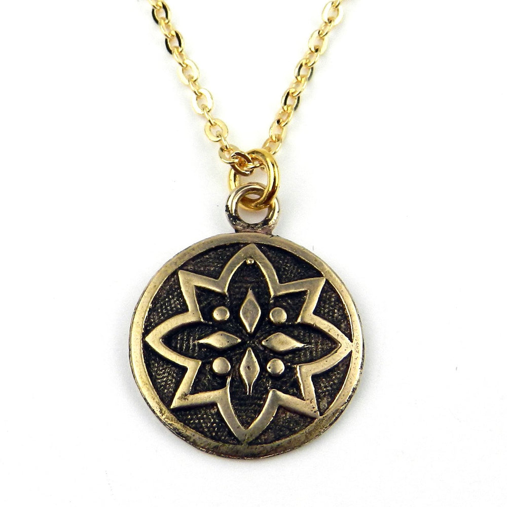 MORNING STAR Vintage Button Necklace - GOLD
