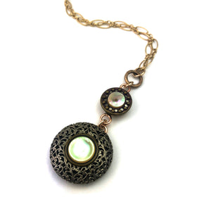 MOTHER OF PEARL - Antique Button Necklace - Gold