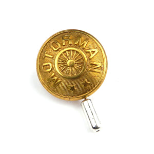 Motorman - Antique Train Button Button Lapel Pin Hat Pin - Brass Wheel