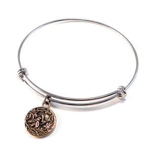 NECTAR Antique Button Bangle Charm Bracelet - MIXED METAL