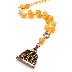 Antique Wax Seal Watch Fob Necklace - Citrine