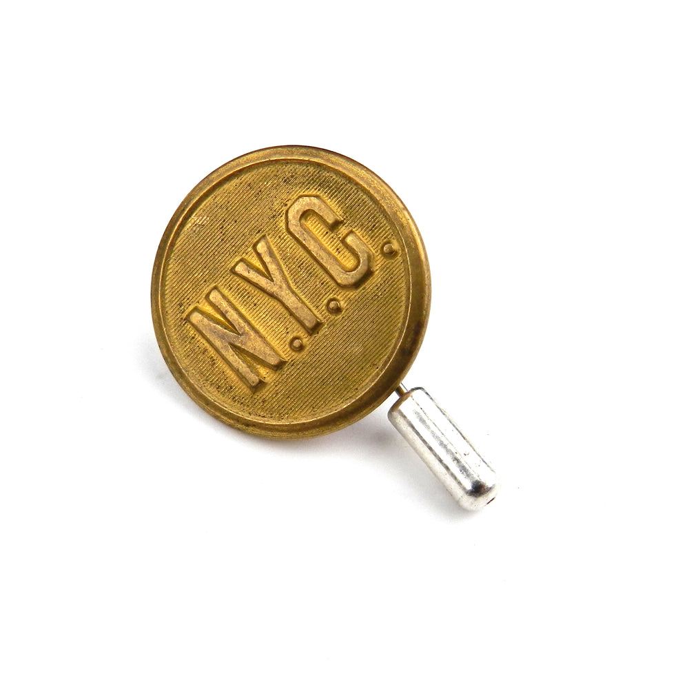 New York Central Railroad - Vintage Button Hat Pin / Lapel Pin - Brass