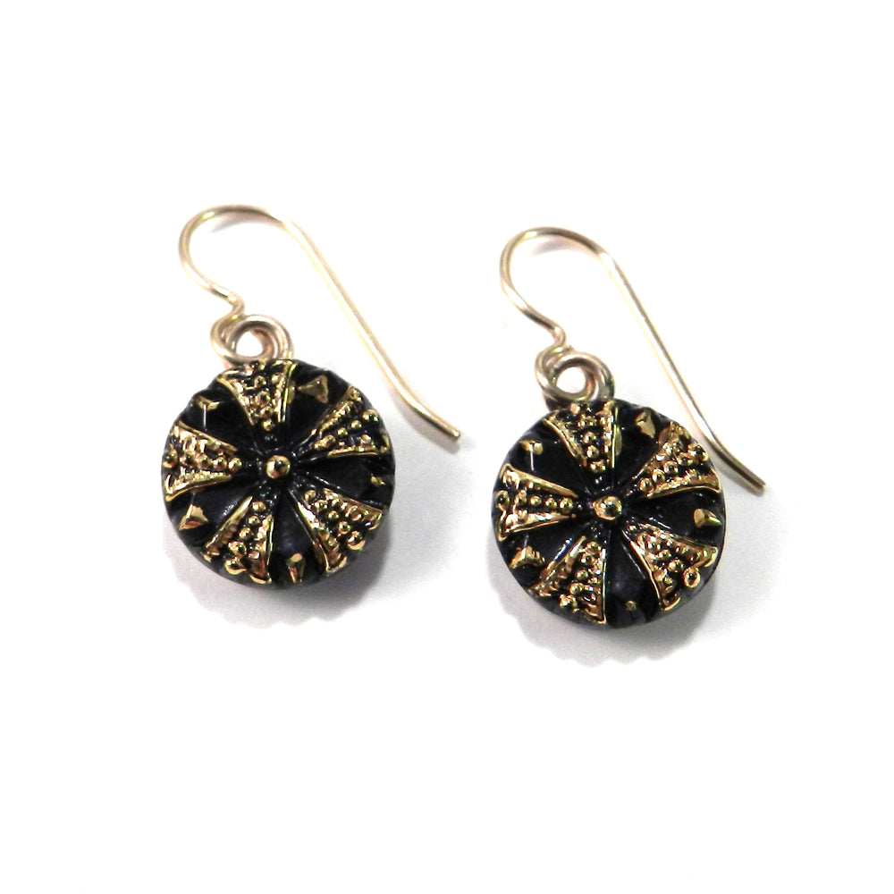 DARK STAR Antique Button Earrings - Gold