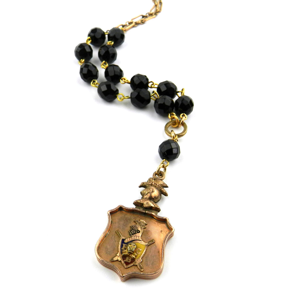 Oddfellows Watch Fob Necklace with Onyx