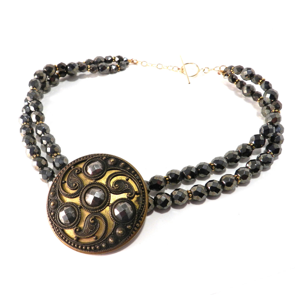 Ornate Cut Steel Antique Button Necklace - Hematite and Gold