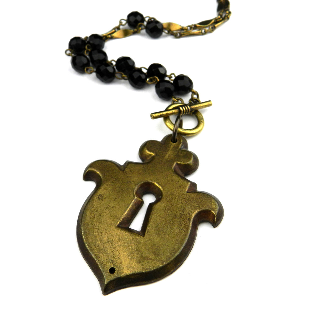 Paris Vintage Escutcheon / Keyhole Necklace - Black