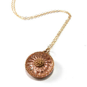 Spring Peach Vintage Button Necklace - Gold