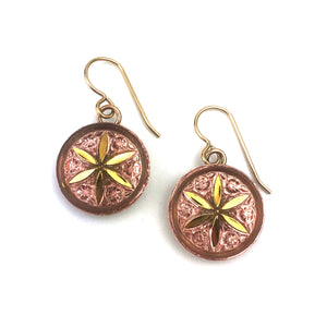 Champagne Peach Vintage Button Earrings - Gold