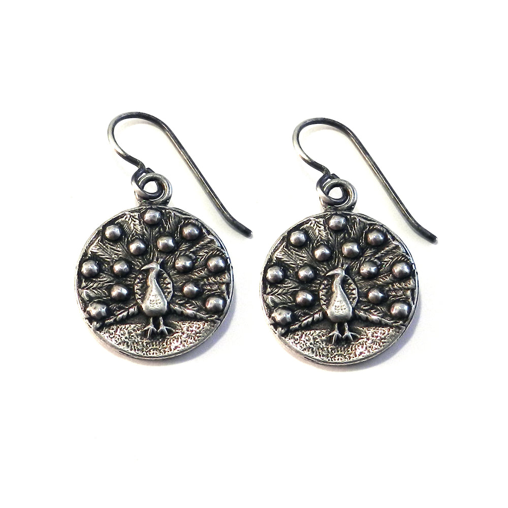 PEACOCK Vintage Button Earrings - SILVER