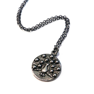 PEACOCK Antique Button Necklace - SILVER